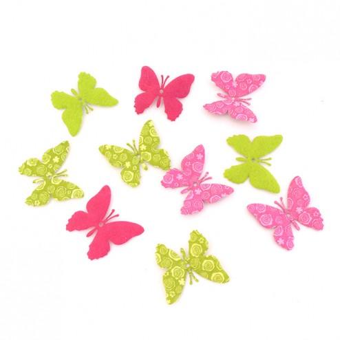 Farfalle di panno Fucsia o Verdi