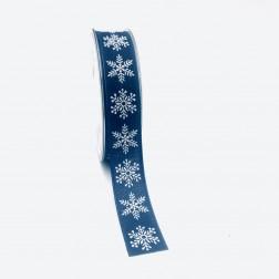 Nastro blu in cotone con fiocchi di neve