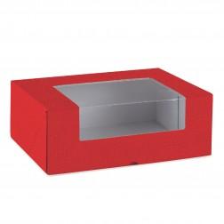 Scatola pasticceria rossa con finestra