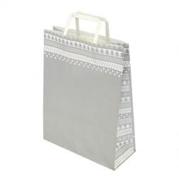 Shopper carta Natale nordico colore Argento e Bianco