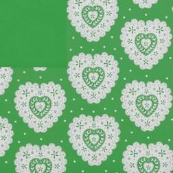 Carta in Polipropilene Verde Fantasia Cuori Ricamati Panna