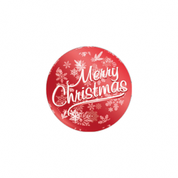 Etichette Adesive Merry Christmas Rosso Metallico