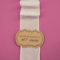 Nastro Taffetà Animato 40mm Panna - confezione da 25 metri