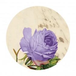 Etichetta Adesiva Tonda Stampa Rose Colore Lilla