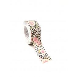 Nastro policotone stampa animalier leopardo e rose rosa.