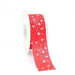 Nastro natalizio in cotone rosso con stelle e neve