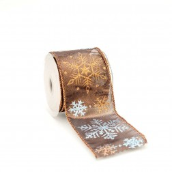 Nastro Natalizio Elegante con Cristalli di Neve Glitter