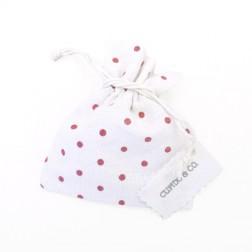 Sacchetti di cotone a pois rossi con tag