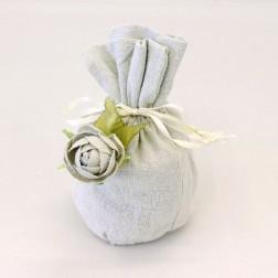Sacchetti di lino con rosellina color tortora