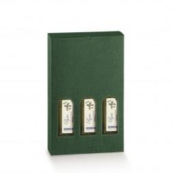 Scatola Bottiglie Olio Verde Scuro - Tris