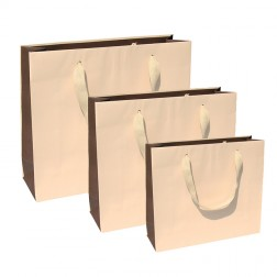 Shopper Bicolore Beige-Marrone con Manico in Cotone