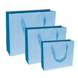 Shopper Bicolore Celeste-Blu con Manico in Cotone