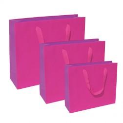 Shopper Bicolore Fuxia-Viola con Manico in Cotone
