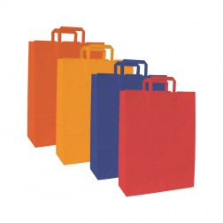 Shopper Carta Kraft Colorata - Manico Piattina