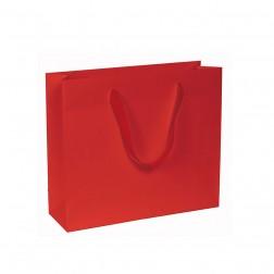 Shopper carta kraft rosso vivo con manico in cotone