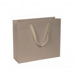 Shopper carta kraft color tortora con manico in cotone