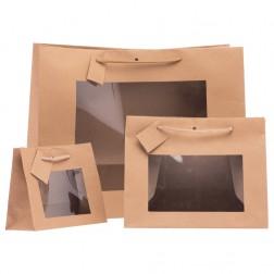Shopper Carta Kraft Avana con Finestra