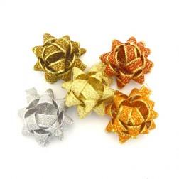 Stelle adesive cotone lamè colori misti