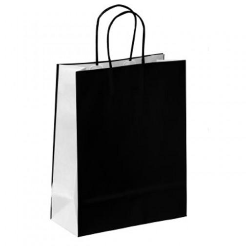 10 X Nero Sacchetti di carta con manico ritorto media 22cm x 31cm x 10cm